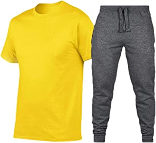 Men T Shirt Long Pants Sport Short Sleeve 2 Piece Tracksuit Sets