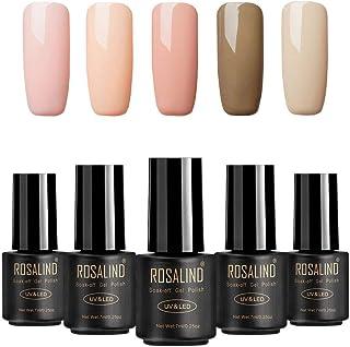 ROSALIND color nude UV esmalte en gel para uñas semi-permanente Manicura para uso personal y profesional Top coat Base coa...