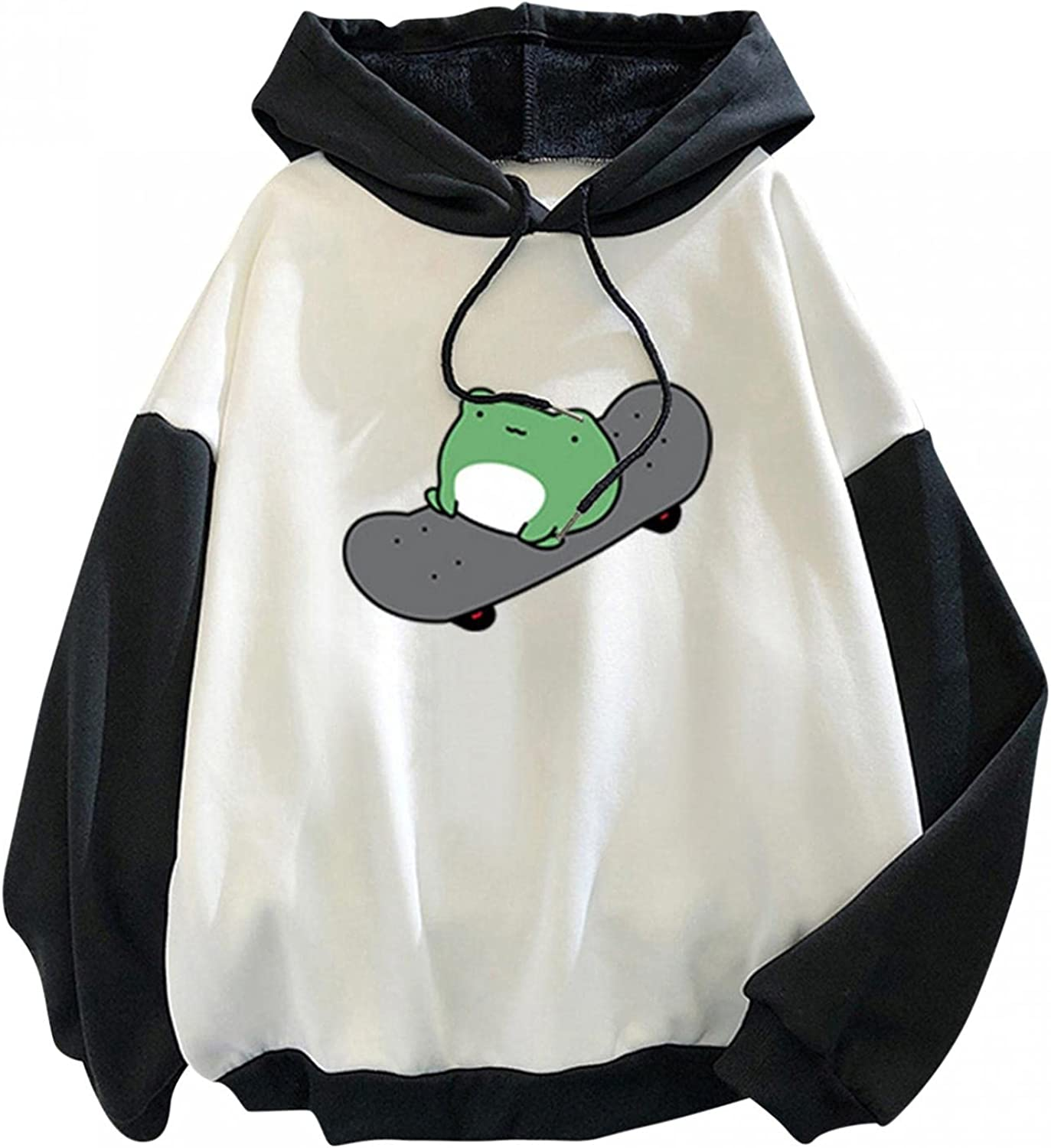 Haheyrte Hoodies for Womens Long Sleeve Cute Skateboarding Frog Hooded Casual Loose Sweatshirts Pullover Tops Shirts