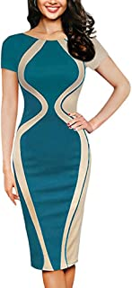 Knee-Length Dress for Women Short Sleeve O-Neck Gourd Shape Patchwork Color Bodycon Party Business Style Pencil Gown