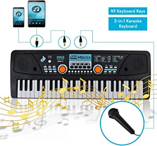 Digital Electronic Musical Keyboard - Kids Learning Keyboard 49 Keys Portable Electric Piano w/ Drum Pad, Recording, Rechargeable Battery, Microphone - Pyle PKBRD4112