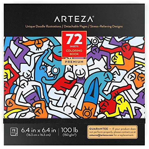 Arteza Album da Colorare per Adulti, Disegni da Colorare per Adulti, 72 Fogli, 150 g/m2, 16,3x16,3 cm, Pagine Staccabili, Ideale Passatempo per Adulti, per Rilassarsi, Colora Via l'Ansia e lo Stress