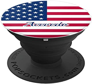Acevedo USA American Flag Merica Personalized Last Name - PopSockets Grip and Stand for Phones and Tablets