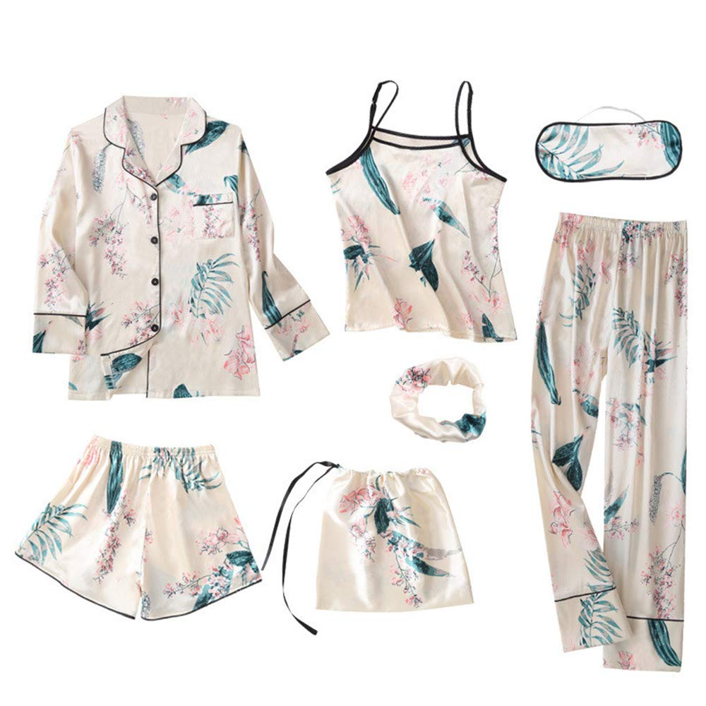 Ensemble Pyjamas 7pcs Nightwear Vêtements Décontracté Chemise de Nuit Satin Pyjamas Ensemble Vêtements de Nuit Élégant Sexy Convient pour Maison, Pyjamas De Fête À Thème