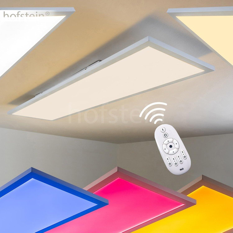 LED Deckenpanel Wabos, lngliche Deckenleuchte aus Metall in Wei, dimmbare Deckenlampe mit RGB Farbwechsler u. Fernbedienung, 41 Watt, 3200 Lumen, Lichtfarbe 3000 Kelvin