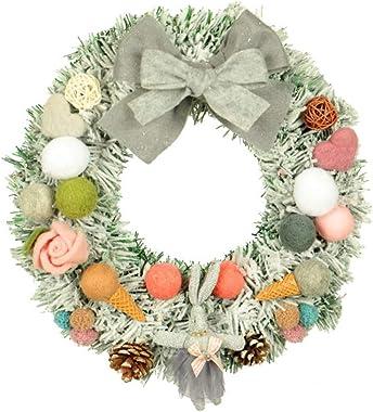 Coherny Wool Felt with Decorative Garland Wreath Christmas Flocking PVC Pinecone Door Hanging Home Window Decoration