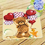 Hecho A Mano De Alfombras Bordado Hecho A Mano Set DIY Latch Hook Kit Rug Making Crafts for Kids/Adults,Bear,45x45cm/17.7x17.7inch