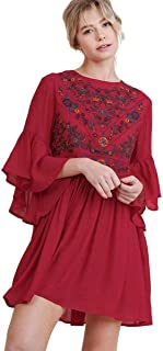 Umgee Women's Floral Embroidered Keyhole Bell Sleeve Mini Dress Bohemian