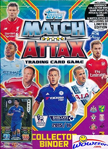 2015/2016 Topps Match Attax English Premier League Soccer Factory Sealed STARTER Kit with Hard Back Collectors Binder Album, Game ready play pitch, Game Guide, Card Pack & EXCLUSIVE GOLD Limited Card!