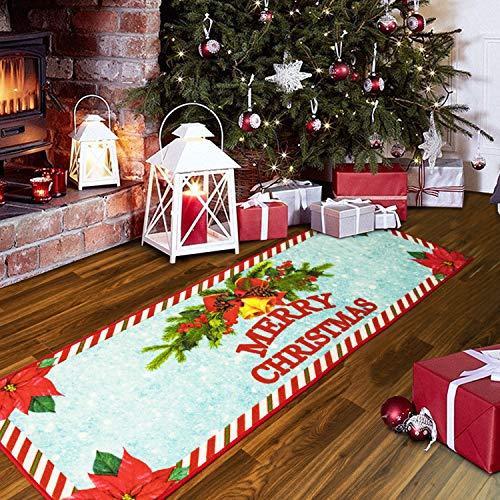 Quenlife Christmas Rug Holiday Décor Non Slip Door Mat Front Door Inside Floor Mat Doormats Entrance Rug, Indoor/Outdoor Rug, for Kitchen Living Room Bedroom Bathroom, 2' x 6', Red
