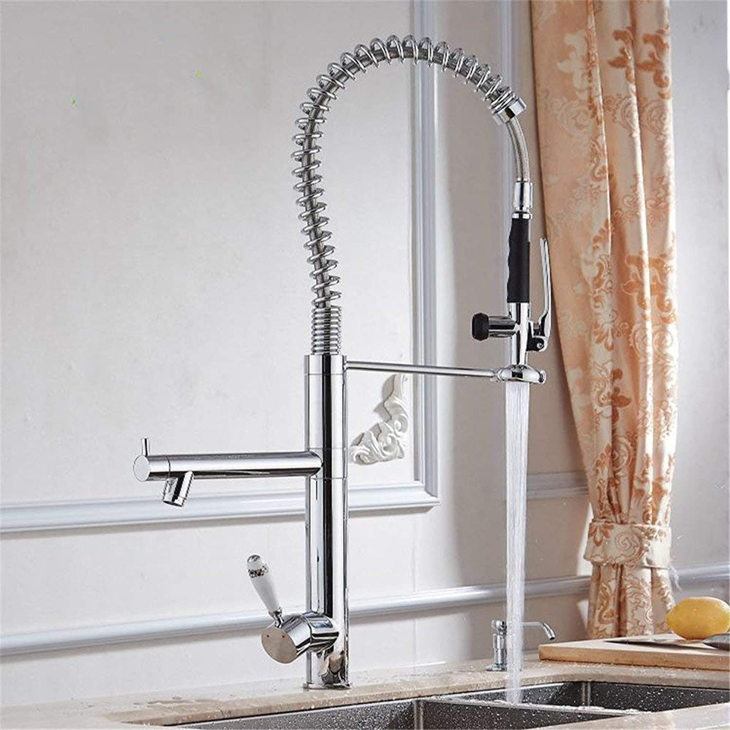Copper chrome kitchen faucet spring drawing high pressure hot and cold faucet environmental redating faucet A (color   -, Size   -)
