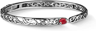 Sterling Silver Multi Gemstone Choice of 5 Different Colors Hinged Cuff Bracelet Size S, M or L
