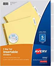 Avery 5-Tab Binder Dividers, Insertable Clear Big Tabs, 1 Set (11110)