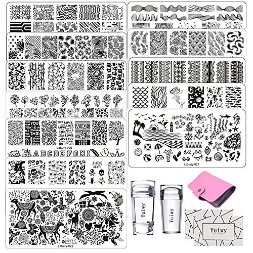 12pcs Nail Art Plaques Stamping Nail Art Outil 3pcs Tampon 2pcs Grattoir pour Art d'ongles Réutilisable Pochoir pour la Manicure 1pcs Sac pour Conserver