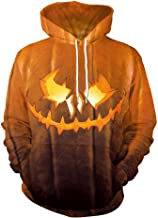 TWGONE Halloween Mens T Shirts Casual Scary Pumpkin 3D Print Party Long Sleeve Hoodie Top Blouse
