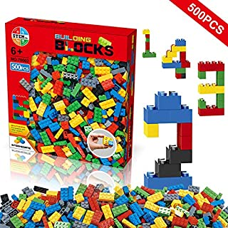 Building Blocks 500 Pieces Set, Building Bricks Creative...