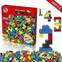 Building Blocks 500 Pieces Set, Building Bricks Creative DIY Interlocking Toy Set Random Colors Mixed Shape ABS Puzzle Construction Toys Set for Kids and Toddlers (500 PCS)
