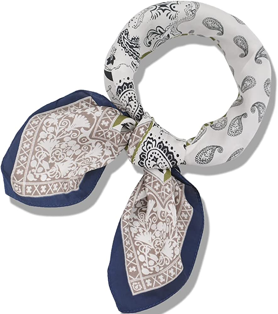 BEGOOD Square Satin Head Scarf for Women Silk Feeling Scarves Neck Scarf Hair Wraps Headscarf Wrist Wrapping Handbag Hat Decoration, 27x27 inch ( Boho Print )