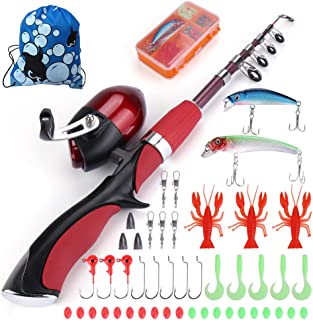 Multi Outools Kids Fishing Pole,Rod and Reel Combos for Fishing Starters Children Fishing Enthusiasts,A Full Fishing Kit for Birthday,Christmas,Festival Gift