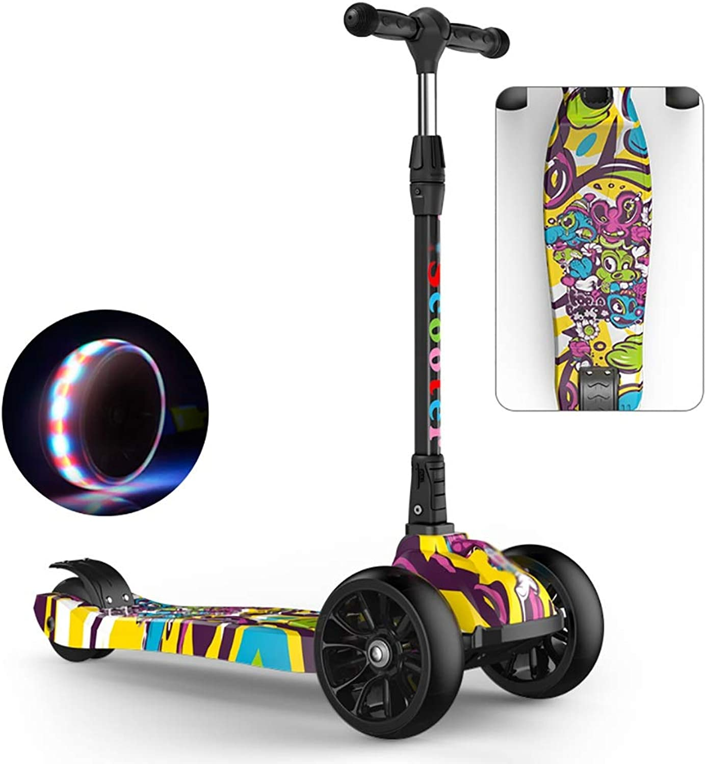 Kick Scooters for Kids Ages 3-12, Scooter Board with Handles, Easy to Fold and Carry, Adjustable Handle Bar, Wide Deck, Flashing Wheels (color   C, Size   68cm × 27cm × 85cm)