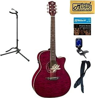Luna FLO LOT QM Flora Series Lotus Quilted Maple Cutaway A/E Guitar, Stand Bundle