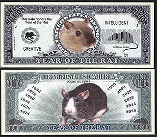 Lot of 2 bills Rat Million Dollar Bill, Year of the Rat Chinese Zodiac New Year