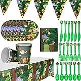 BETOY 42 PCS Set de Vajilla de Fiesta - Desechable Papel Platos, Vasos, Servilletas, Pajitas y Globos Suministros para la Fiesta para Cumpleaños Baby Shower Decoracion Fiesta (Selva)
