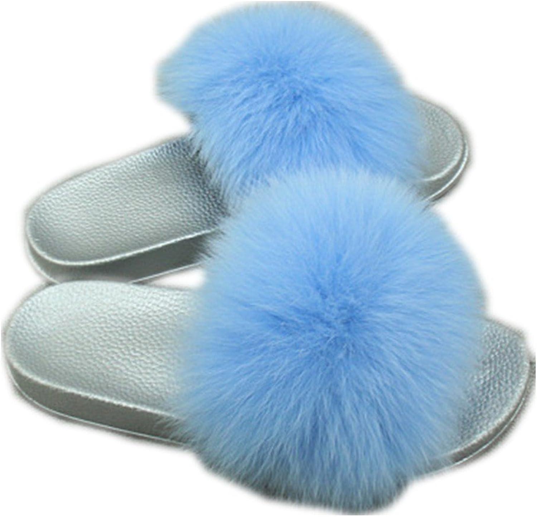 QMFUR Women Real Fox Fur Slippers Fashion Slides Flat Silver Soft Summer shoes for Girls (12, bluee)