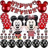 FANDE Minnie Themed Decoraciones de Fiesta,Decoraciones de cumpleaños de Mickey Mouse,Globos y Adornos para Tartas,Pancarta de Feliz Cumpleaños