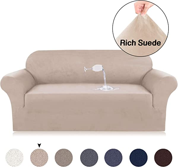 Turquoize Suede Sofa Cover Sofa Slipcover Water Repellent Sofa Lounge Covers For 4 Seat Sofa Cover Suede Slipcover Loveseat Cover Stretch Velvet Plush Sofa Slip Covers XL Sofa Sand