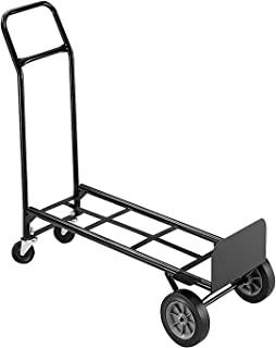 Safco Products 4070 Convertible Hand Truck,8-Inch Rubber Wheels,18-1/2-Inch x12-Inch x52-Inch,BK