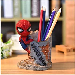 DKX Pen Holder Creative Ornaments, Resin Crafts, Office Desktop, Home Decoration, Cartoon Cute Spiderman Pen Holder, Teacher's Day to Send Teacher Graduation Gift (Color : A)