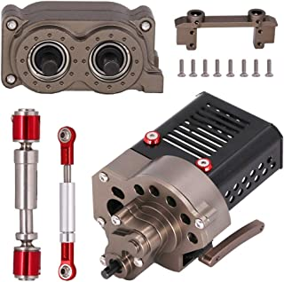 Toyvian 1 Set 1/10 RC Car Accessories Set Metal Gearbox Transfer Case Drive Shaft Steering Rod Compatible for SCX10
