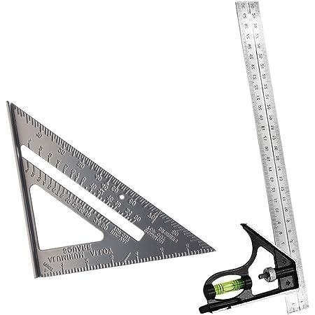 2個セット コンビネーション スコヤ 三角スクエア 直角ルーラー 多用途 調整可能 アルミニウム