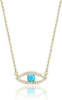 KISSPAT 14 K Gold Natural Gemstone Evil Eye Pendant Necklace Jewelry for Women