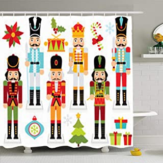 ArtsDecor Shower Curtains 66 x 72 Inches Cracker Christmas Nutcrackers Nut Boy Clipart Crown Waterproof Fabric for Bathroom Home Decor Set with Hooks