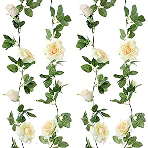 Felice Arts 2pcs 13 FT Fake Rose Vine Flowers Plants Artificial Flower Hanging Rose Ivy Home Hotel Office Wedding Party Garden Craft Art Decor¡­