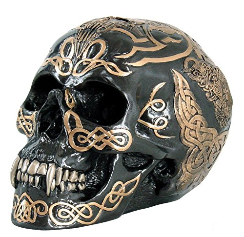 PTC 7 Inch Black and Gold Color Celtic Pattern Skull Statue Figurine