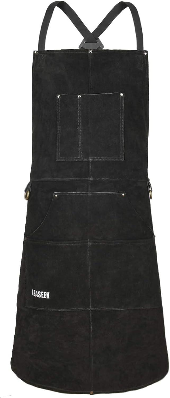 LeaSeek Leather Welding Apron In stock Flame-Resistant Duty 2021 model Heat Heavy