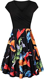 Foowni Womens Fashion Casual Floral Printed Maxi Dress Short Sleeve Party Long Dress