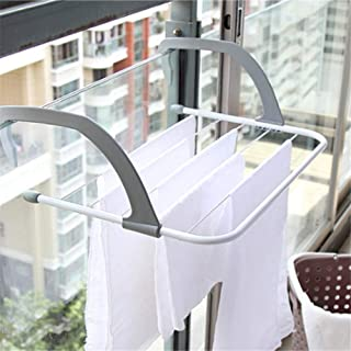 AZX Tendedero de Balcón, Secador Plegable de Puerta,Tendedero Radiador de Acero y Resina,Color Gris