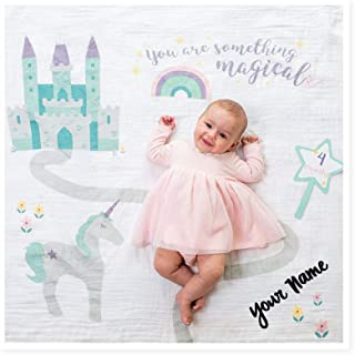 lulujo Personalized Baby's First Year You are Something Magical Unicorn and Castle Print Baby Girl Growth Blanket and Month Milestone Cards Set with Custom Name