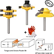 Tongue and Groove Router Bit Tool Set with Adjustable 1/4 Inch Shank T Shape Wood Milling Cutter with 45 Degree Lock Miter Router Bit 3/4 Inch Stock Joint Router Bit for Wood Drawer, Window, Cupboard