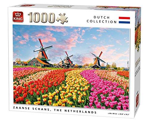 King 5722Olanda mulini a vento e tulipani, puzzle da pezzi, 68x 49cm