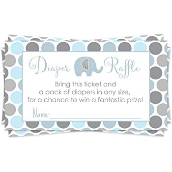 Blue Elephant Diaper Raffle Ticket (25 Cards) Baby Shower Games – Invitation Inserts – Drawings for Sprinkle Activity – Boys Little Peanut Animal Theme