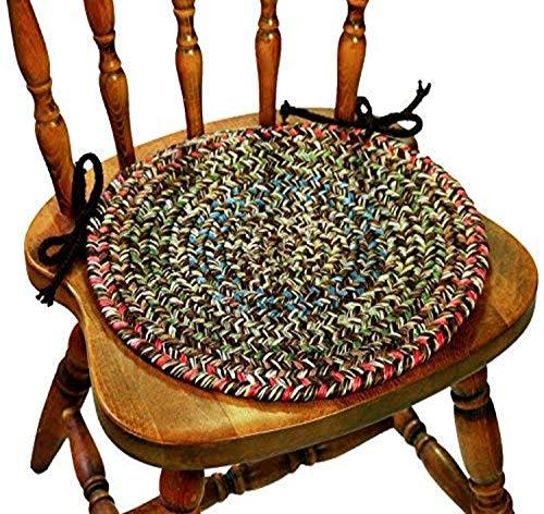 Sonya Reversible Braided Chair Pads, 15-Inch, Denim Multicolor, Set of 4