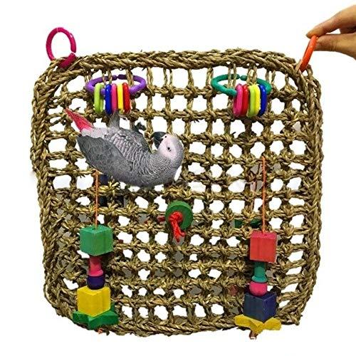 Raccogliere insieme 30 x 30 cm Parrot Climbing Net Hammock Swing Pet preferito morso giocattolo colorato sicuro e insapore pappagallo naturale paglia Pet Arrampicata giocattolo