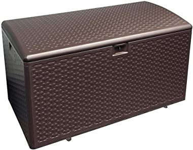 Plastic Development Group 73 Gallon Weather-Resistant Resin Outdoor Storage Deck Box with Slide and Snap Assembly, Java