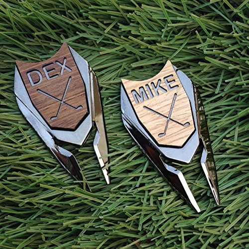 Golf Ball Marker Divot Tool Personalized Custom Engraved REAL Wood Markers Golfer Accessories