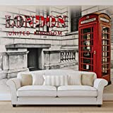 Stadt London Telefonzelle Rot - Forwall - Fototapete - Tapete - Fotomural - Mural Wandbild - (3131WM) - XXXL - 416cm x 254cm - VLIES (EasyInstall) - 4 Pieces
